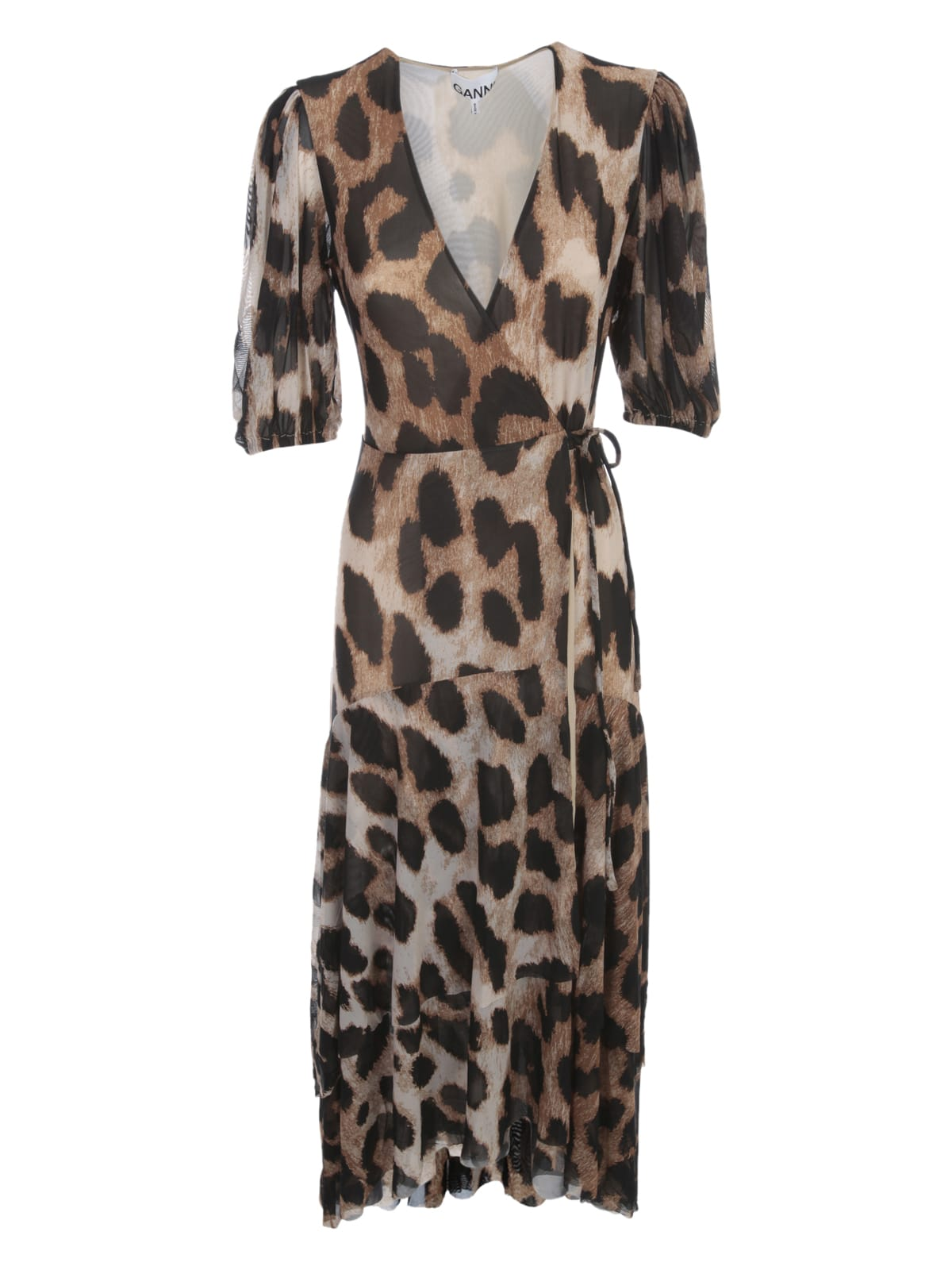 Buy Ganni Printed Mesh Maxi Dress L/s V Neck Animalier online, shop Ganni with free shipping