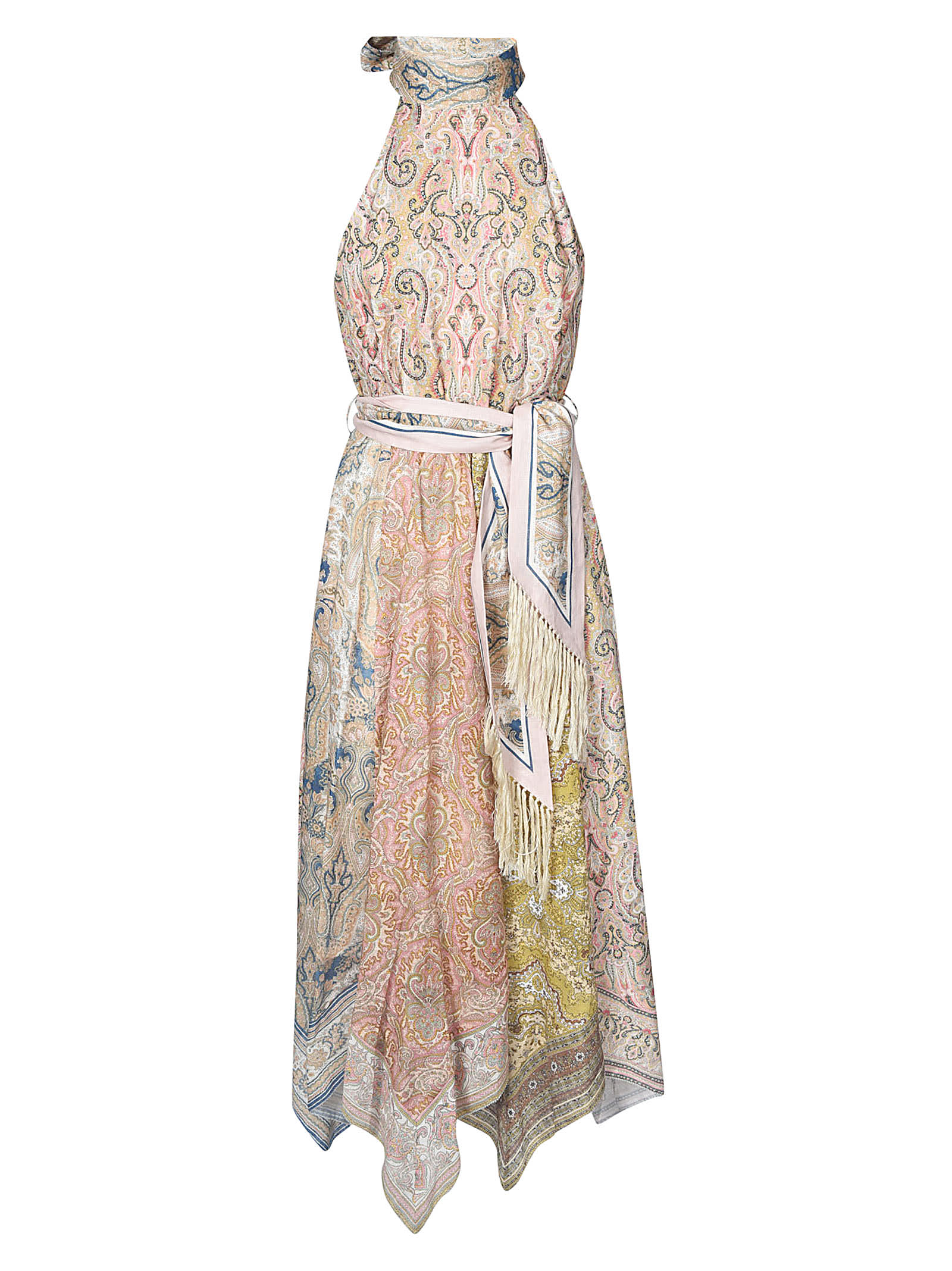 Buy Zimmermann Sleeveless Printed Tied Waist Dress online, shop Zimmermann with free shipping