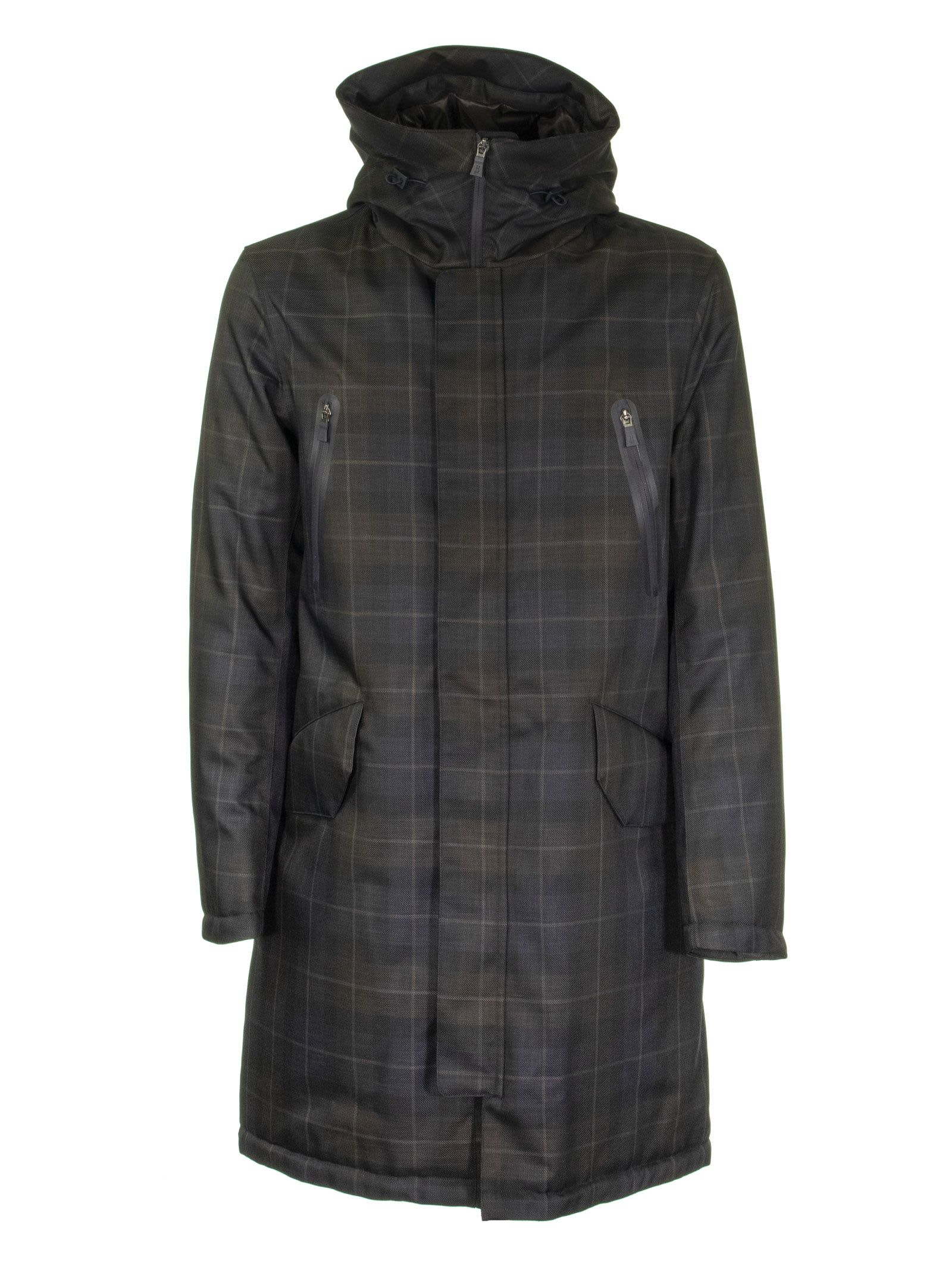 Herno Long Jacket With Checked Pattern