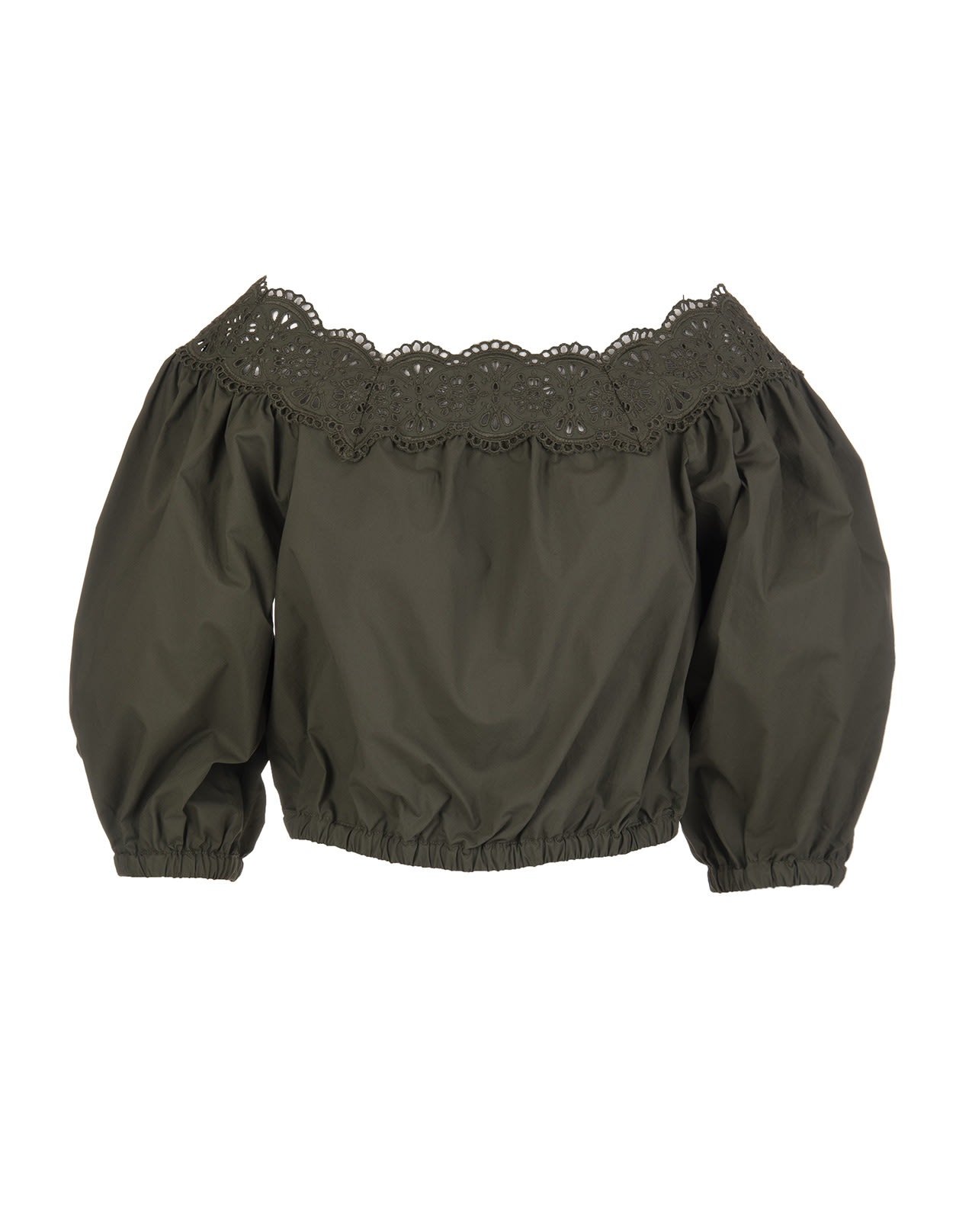 P.a.r.o.s.h. Militarys OFF-SHOULDER CROPPED BLOUSE