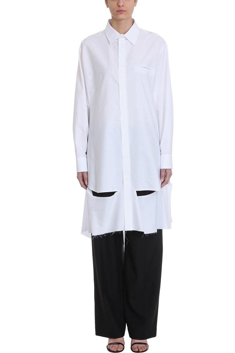 Maison Margiela White Cotton Shirt Dress