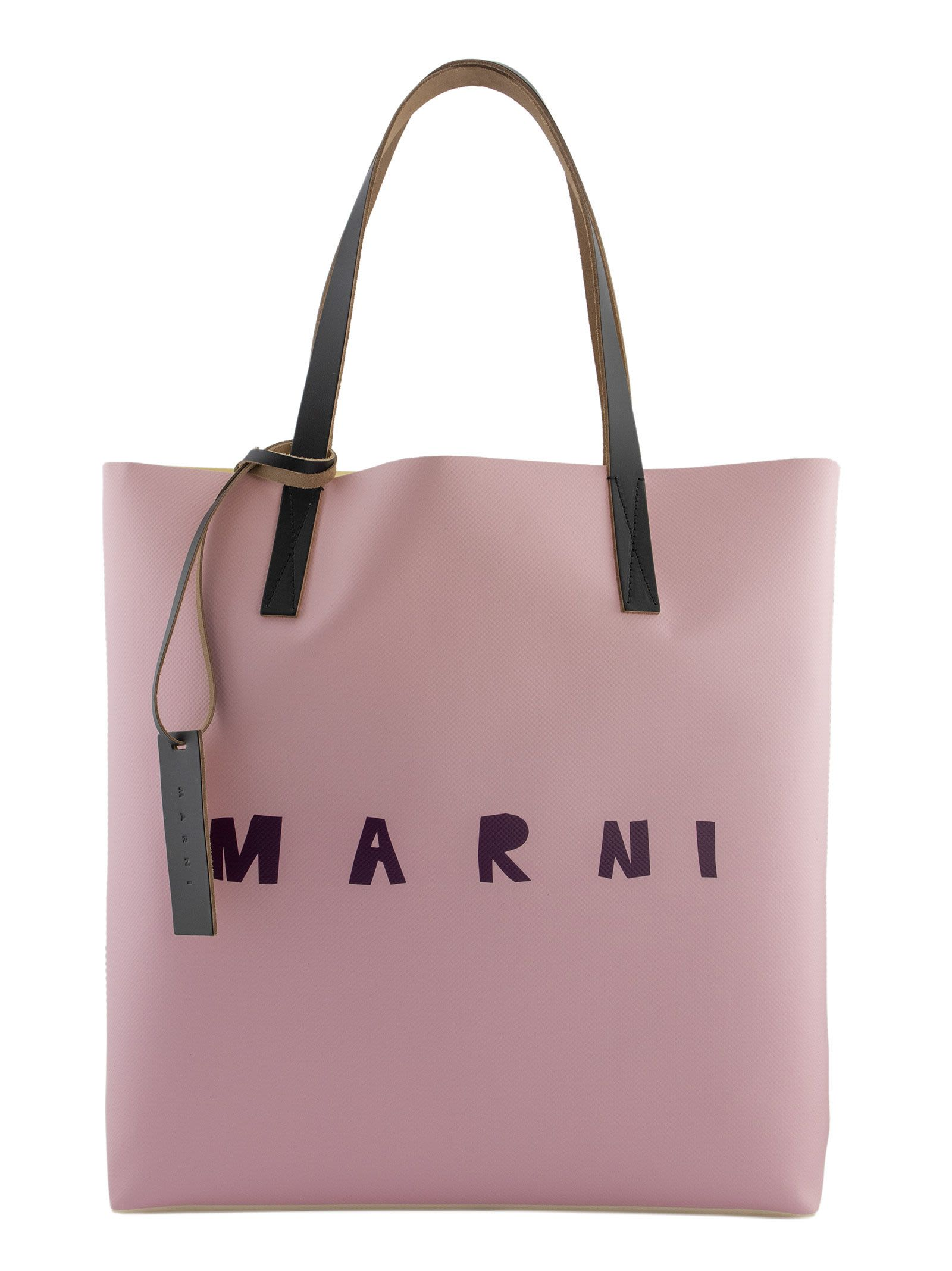 Marni Two-tone Shopping Bag With Front Logo