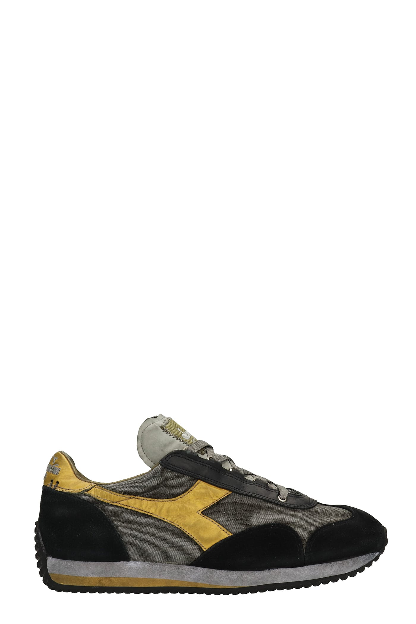 Equipe H Sneakers In Black Suede And Fabric
