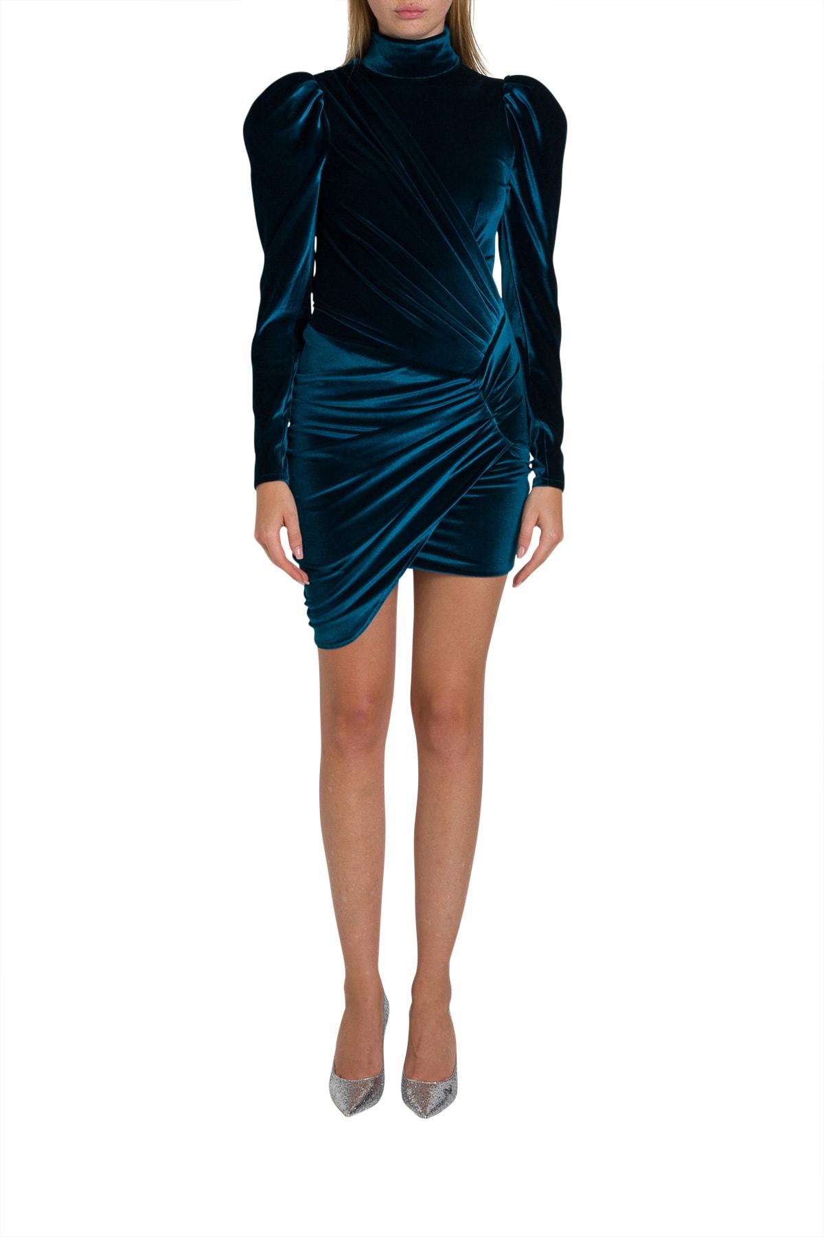 Photo of  Alexandre Vauthier Short Velvet Dress With Puffed Sleeve- shop Alexandre Vauthier  online sales