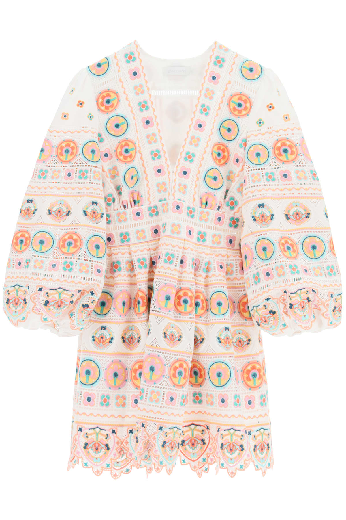 Buy Brighton Mini Dress With Embroideries online, shop Zimmermann with free shipping