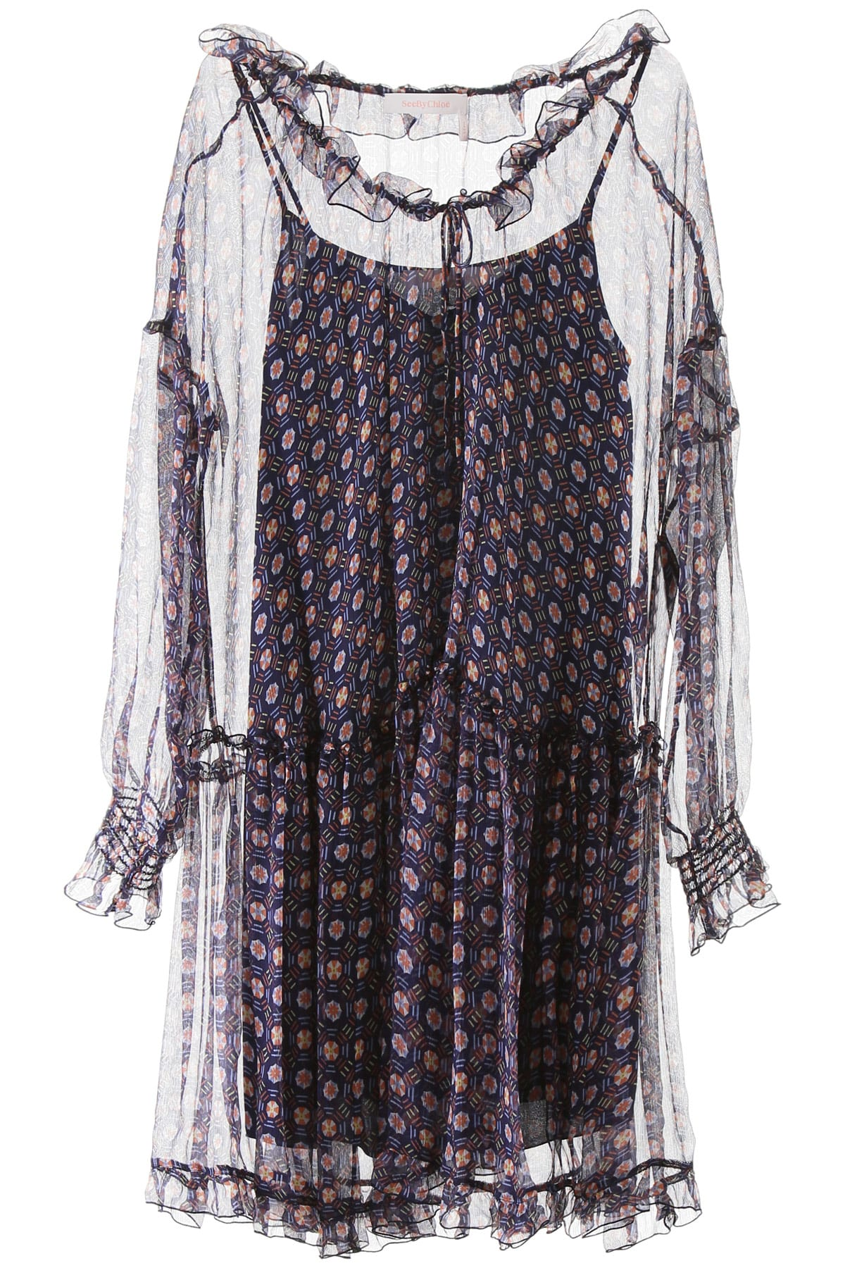 Buy See by Chloé Graphic Umbrella Print Oversized Dress online, shop See by Chloé with free shipping