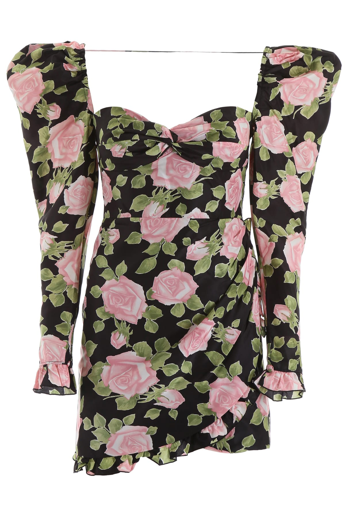 Alessandra Rich Rose Print Mini Dress