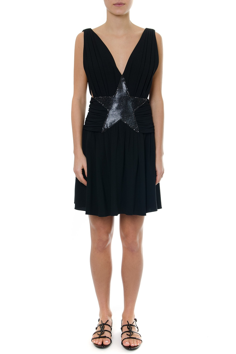 Saint Laurent Black Dress In Sablé With Mesh Star