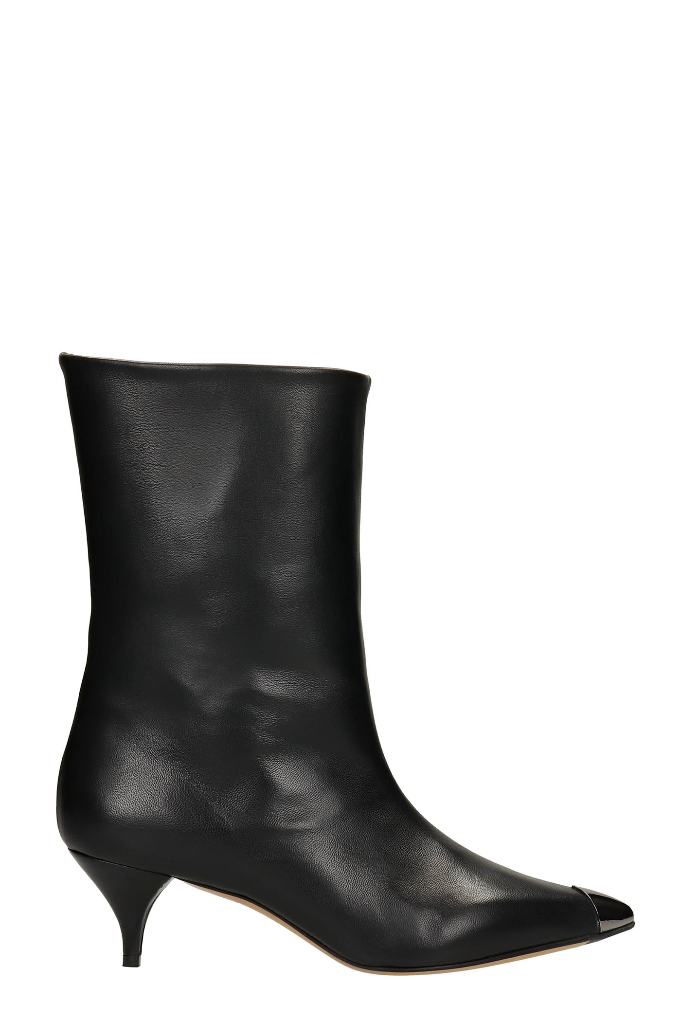 Low Heels Ankle Boots In Black Leather