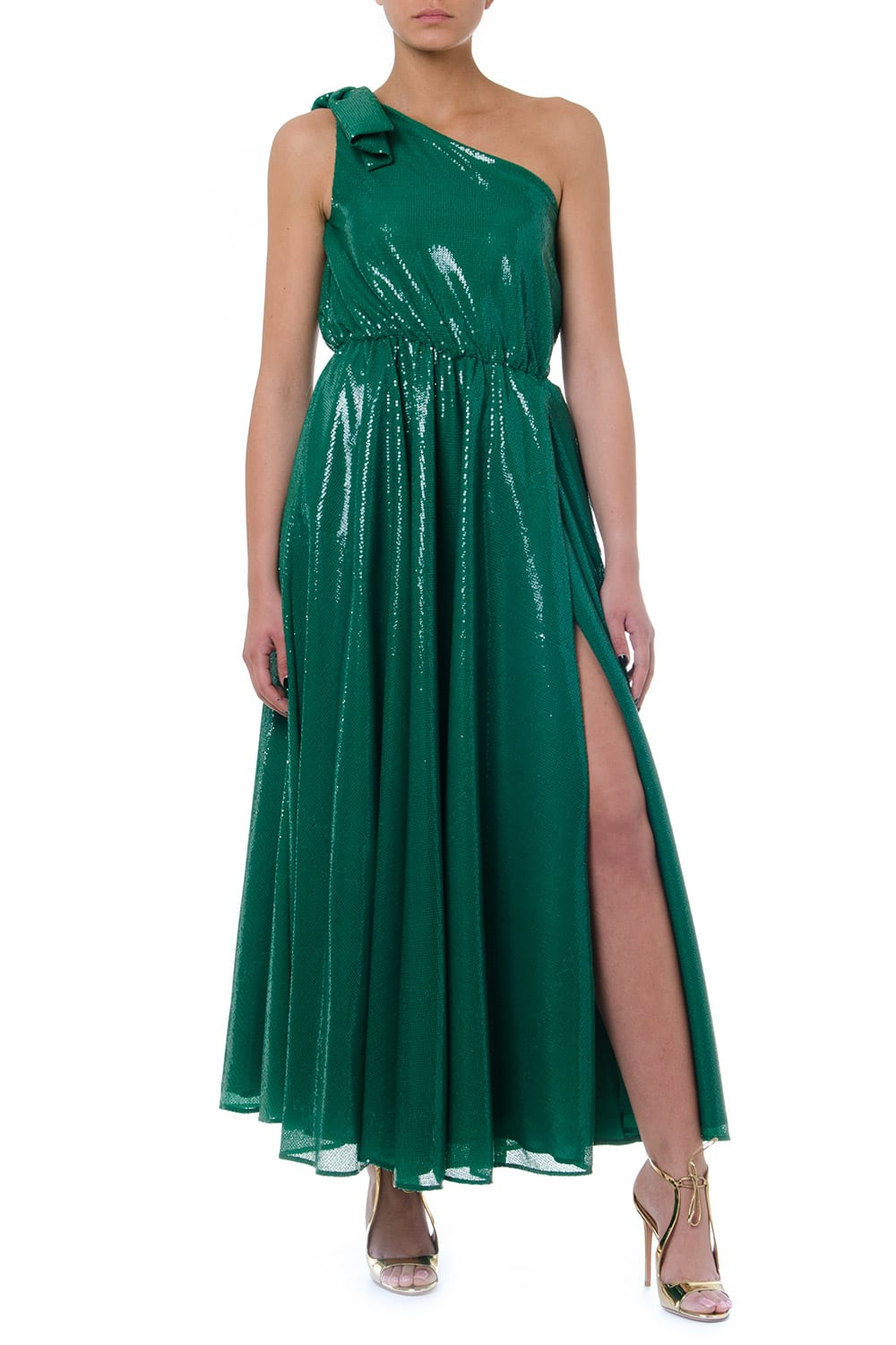 Buy MSGM Green One Shoulder Maxi Dress online, shop MSGM with free shipping