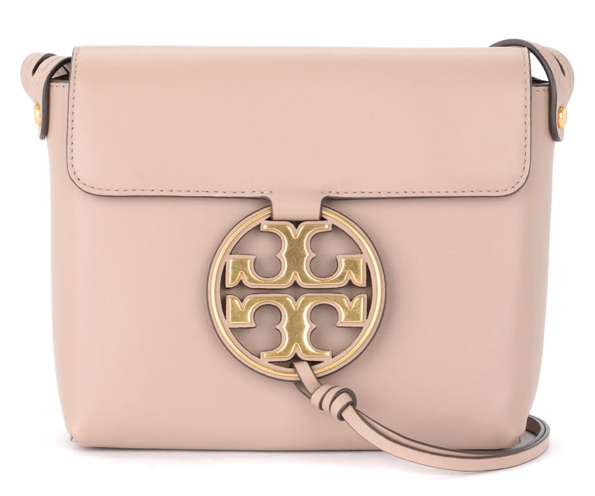 Tory Burch Miller Model Shoulder Bag In Nude Colored Leather With Maxi Golden Front Logo