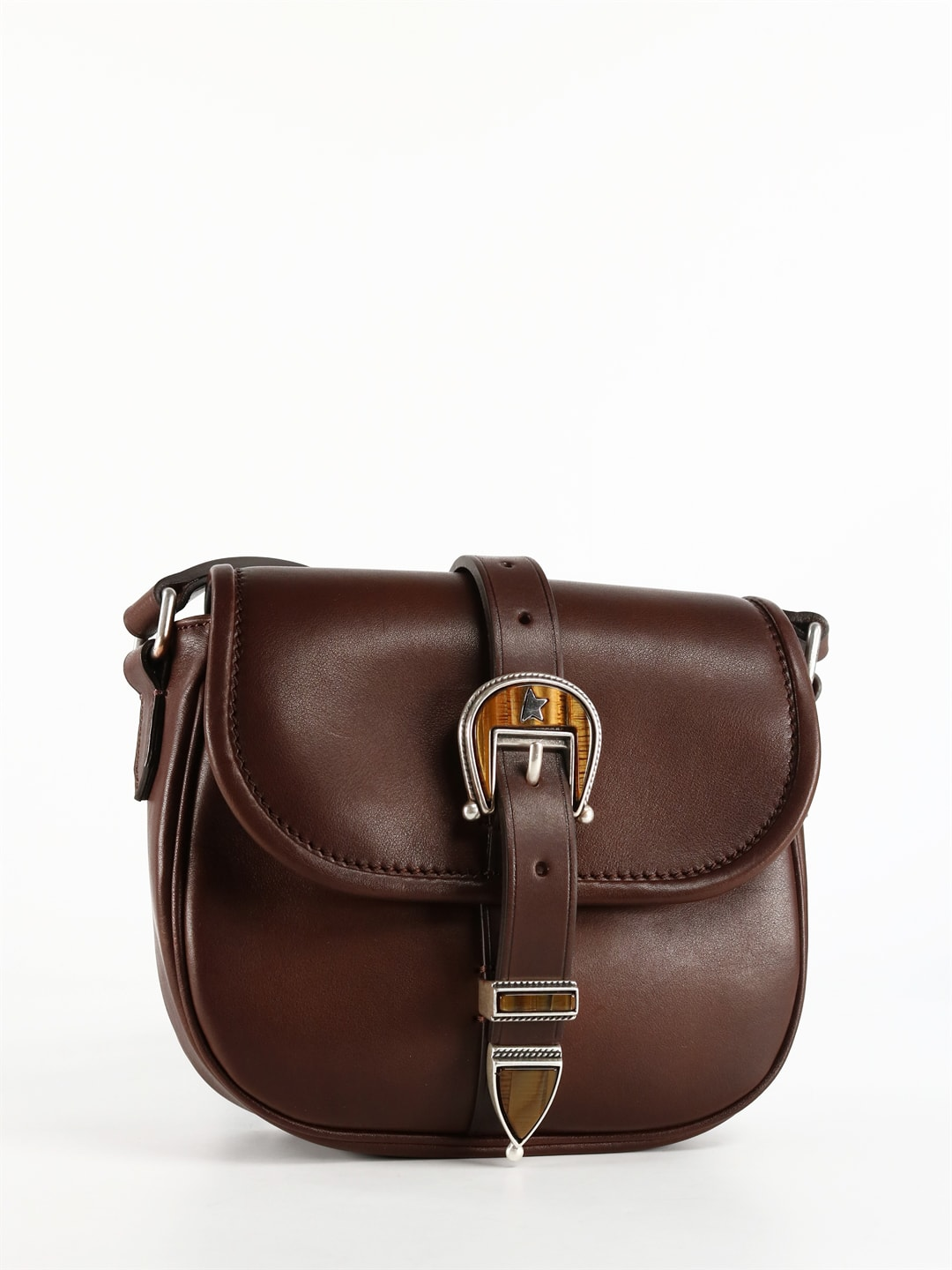 Rodeo bag in premium brown leather, characterized by its softness accompanied by a silky effect. Equipped with a double magnet closure that allows easy opening and closing of the bag. Adjustable shoulder strap. Front flap, adjustable buckle closure. Magnet for opening and closing. Dimensions: 20 x 18 x 7 cmComposition: 100% Bovine Leather