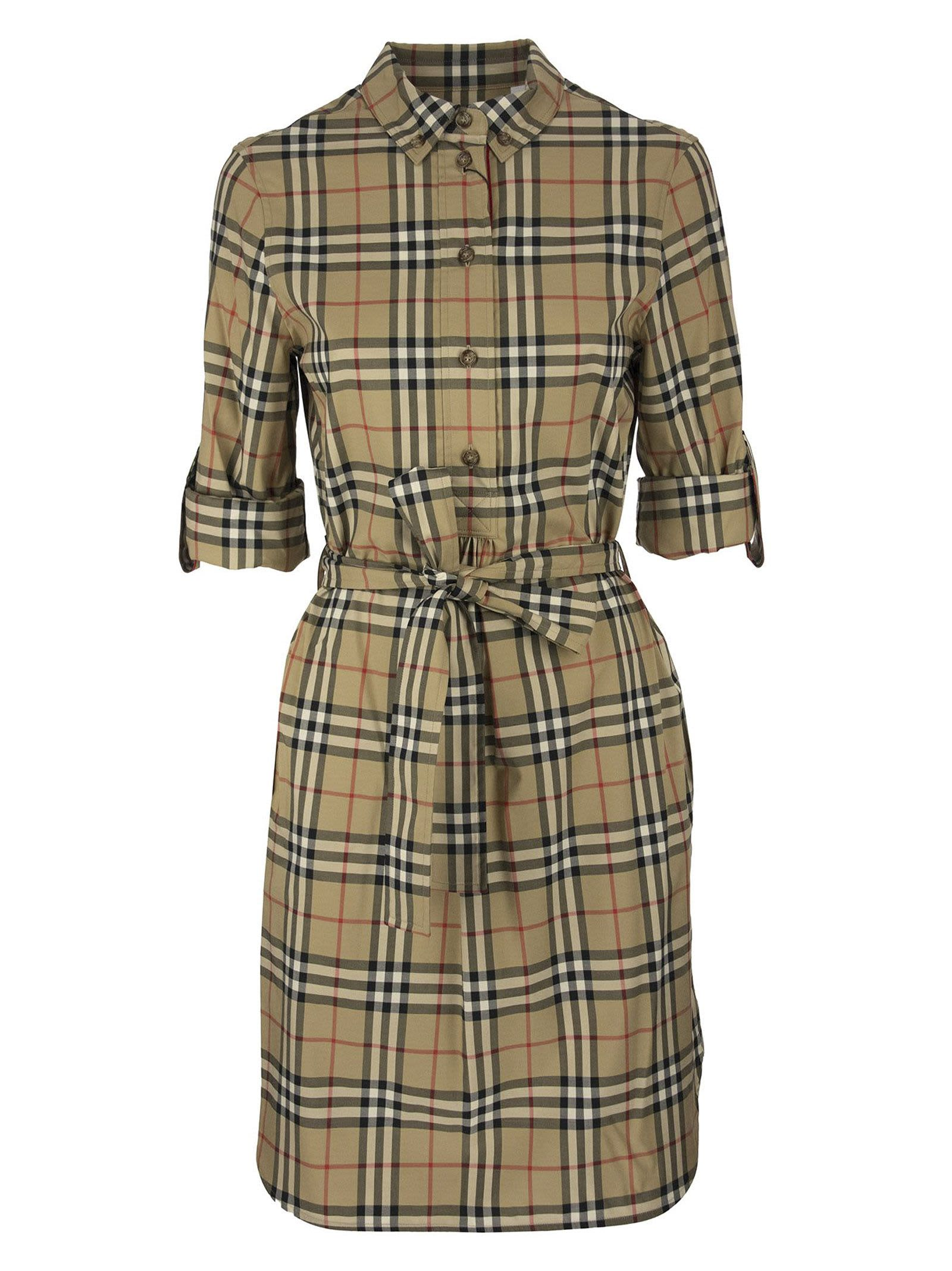 Burberry Giovanna – Stretch Cotton Chemise Dress With Vintage Check Pattern And Belt