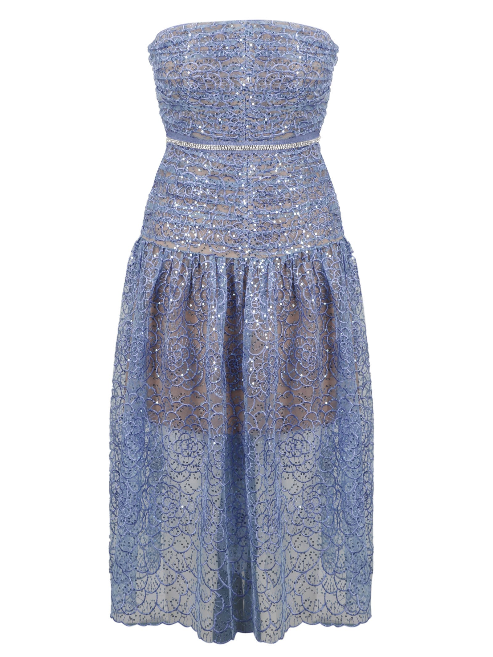 Buy self-portrait Embroiddered Sequin Strapless Midi Dress online, shop self-portrait with free shipping