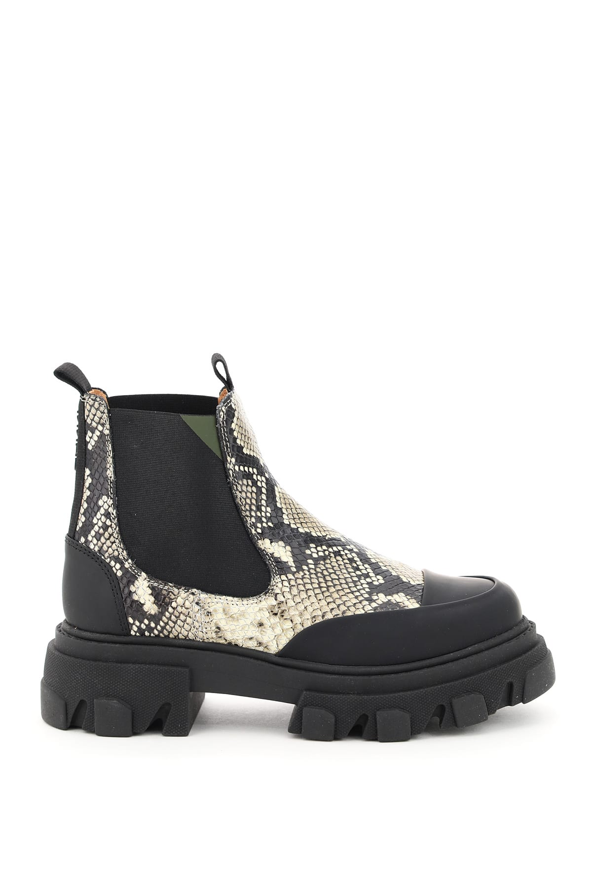 Ganni PYTHON PRINT LEATHER BOOTS