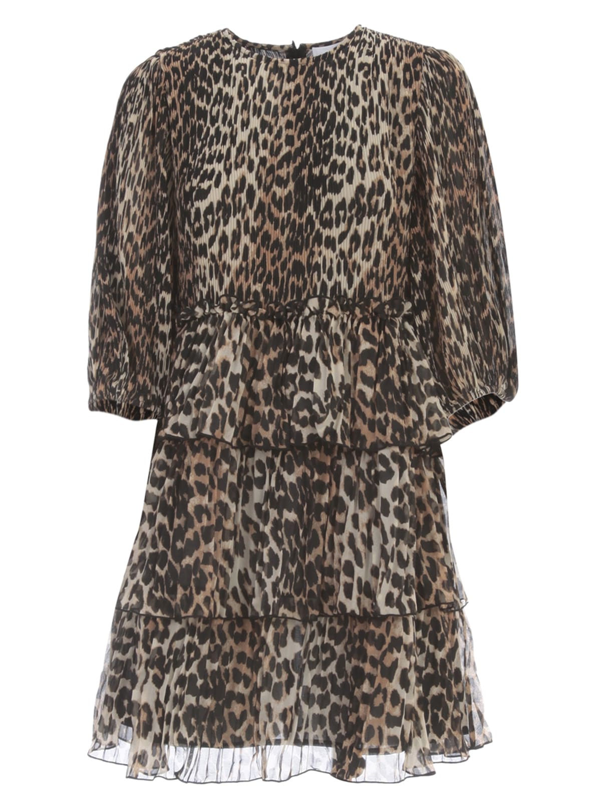 Buy Ganni Pleated Georgette Oversized Dress Animalier online, shop Ganni with free shipping