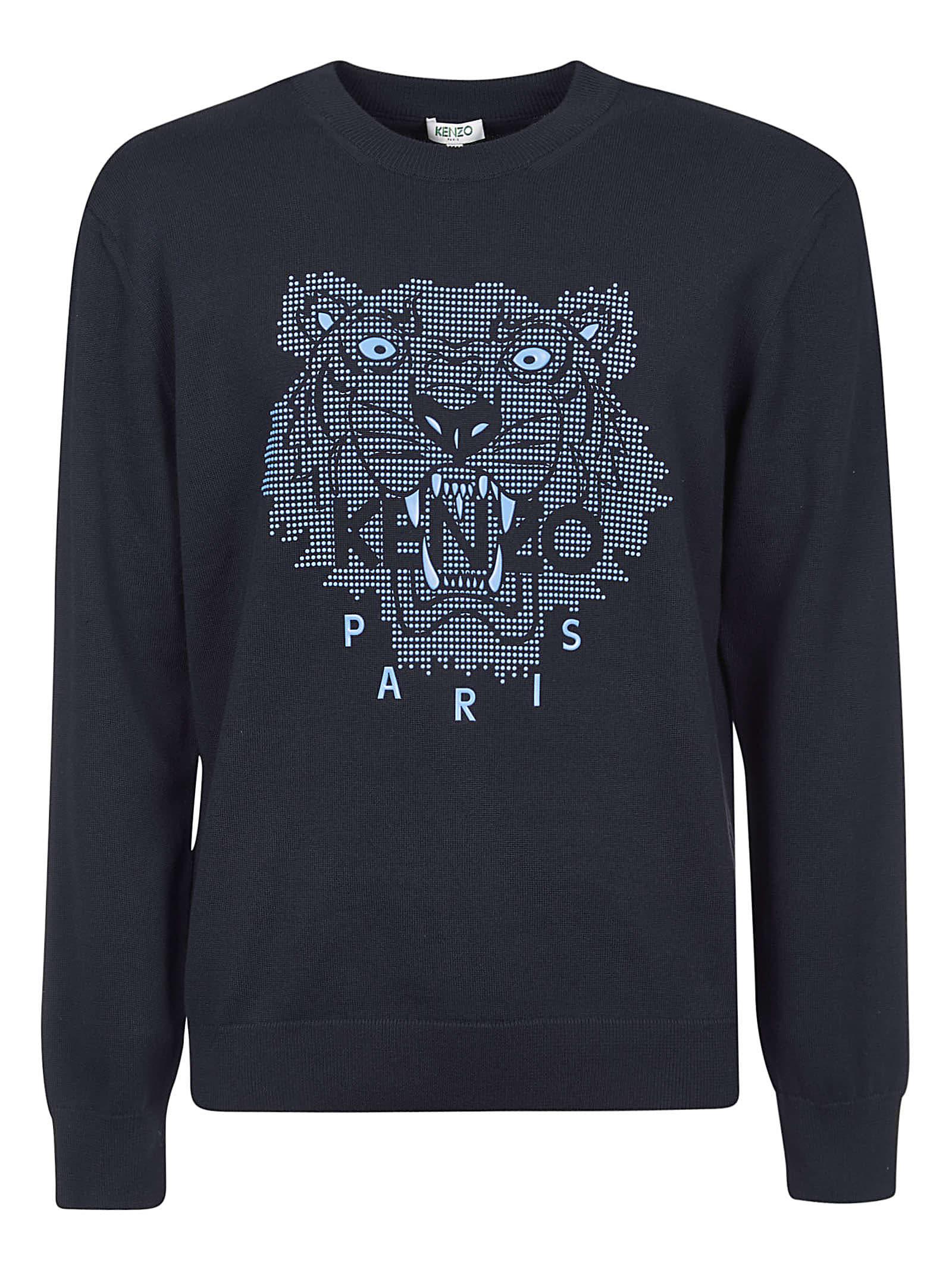 Tiger Head Ribbed Print Sweatshirt