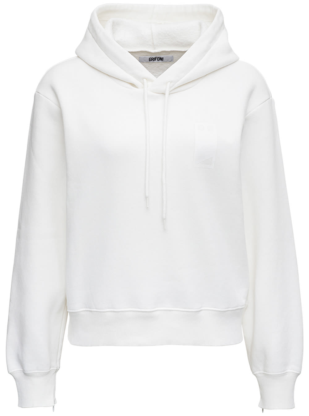 White Cotton Hoodie With Print