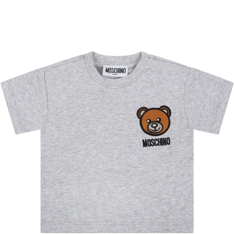 Moschino GREY T-SHIRT FOR BABYKIDS WITH TEDDY BEAR