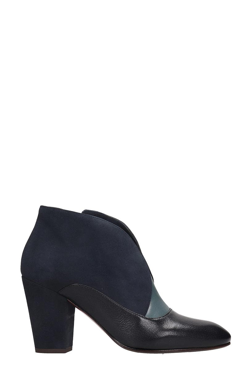 Chie Mihara Elgi High Heels Ankle Boots In Blue Suede And Leather