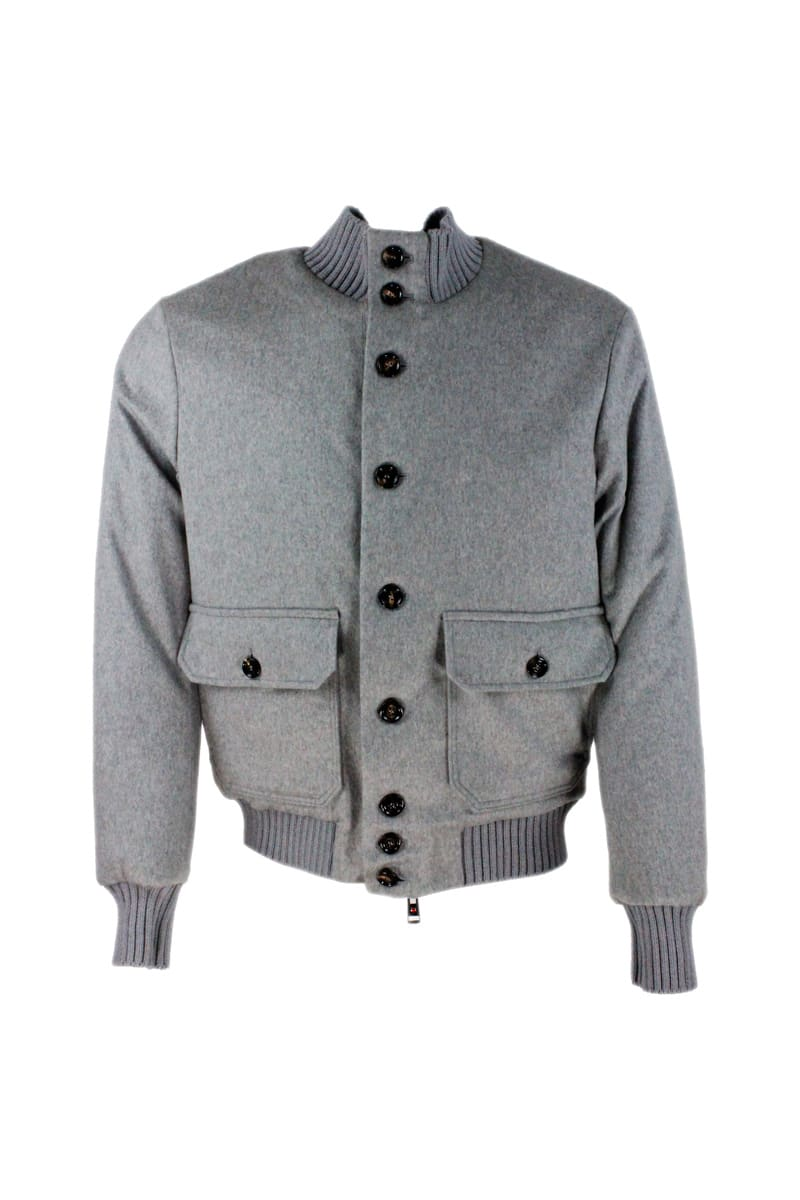 Cashmere Bomber Jacket Padded In Real Goose Down With Collar