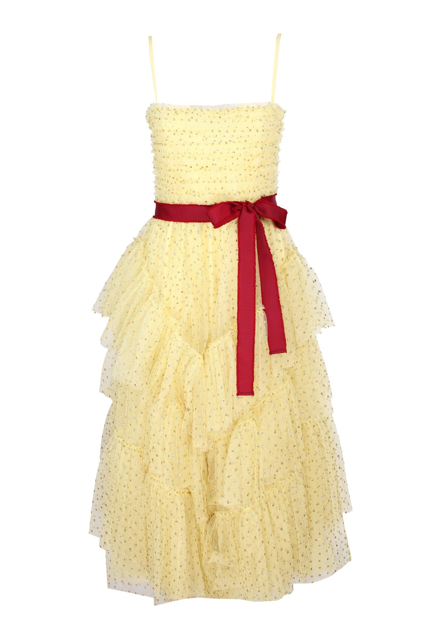 Red Valentino Yellow Glitter Polka Dot Tulle Dress