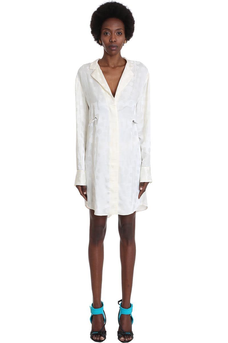 Buy Off-White Jacquard Coulis Dress In Beige Viscose online, shop Off-White with free shipping