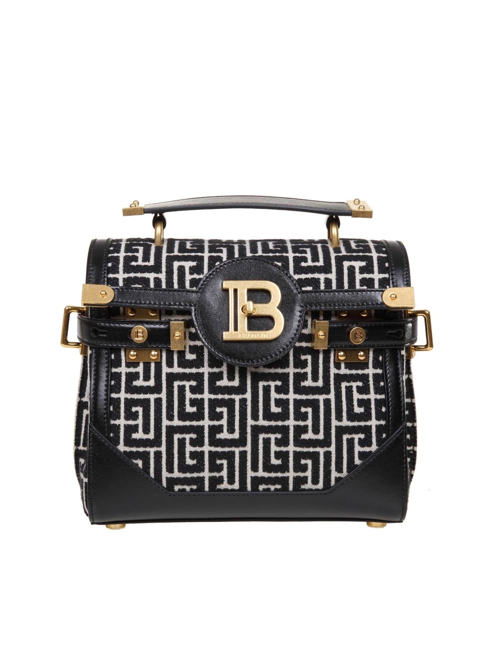 Balmain B-buzz 23 Bag In Two-tone Jacquard Leather In Black/ivory