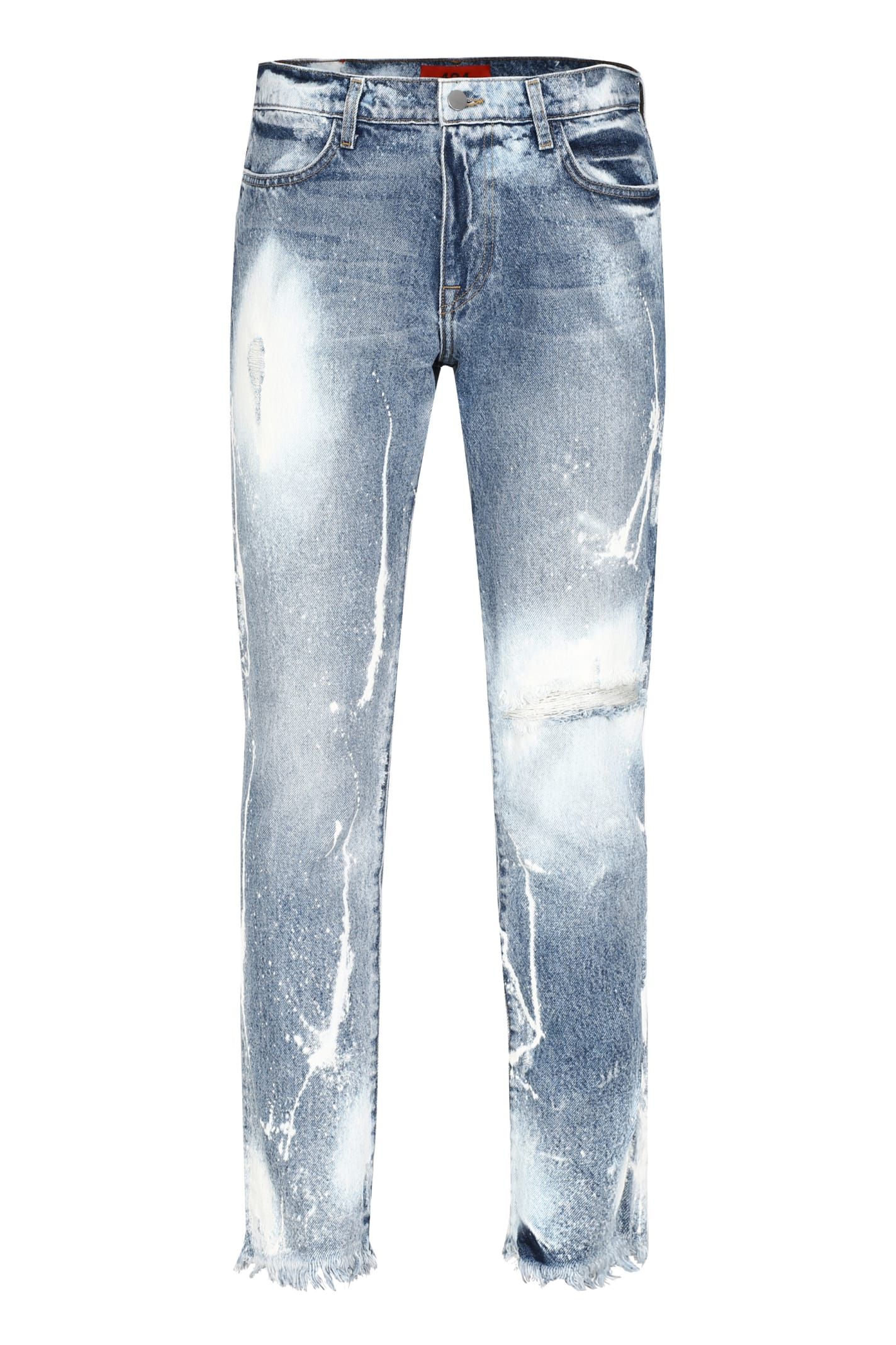 FourTwoFour on Fairfax Distressed Slim Fit Jeans