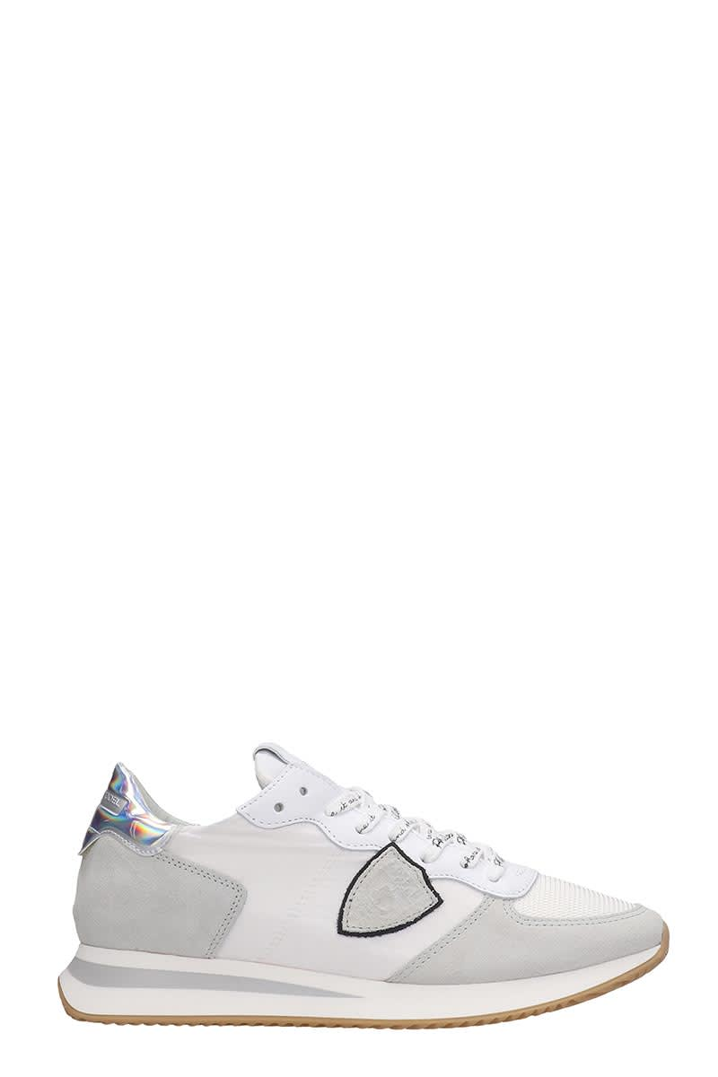 Philippe Model Trpx Sneakers In White Suede And Fabric