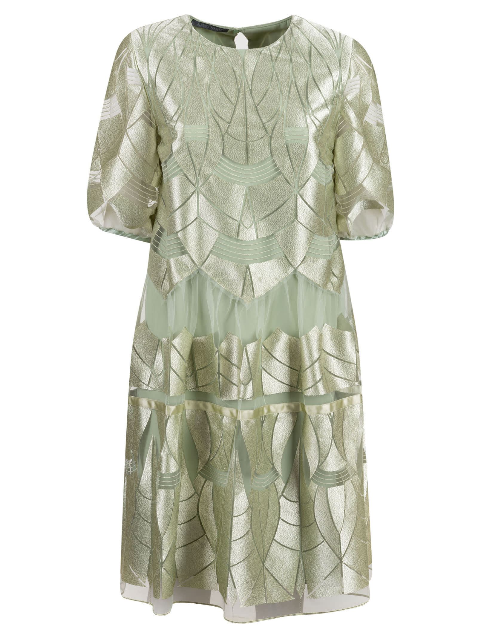 Alberta Ferretti Laser-cut Layered Dress