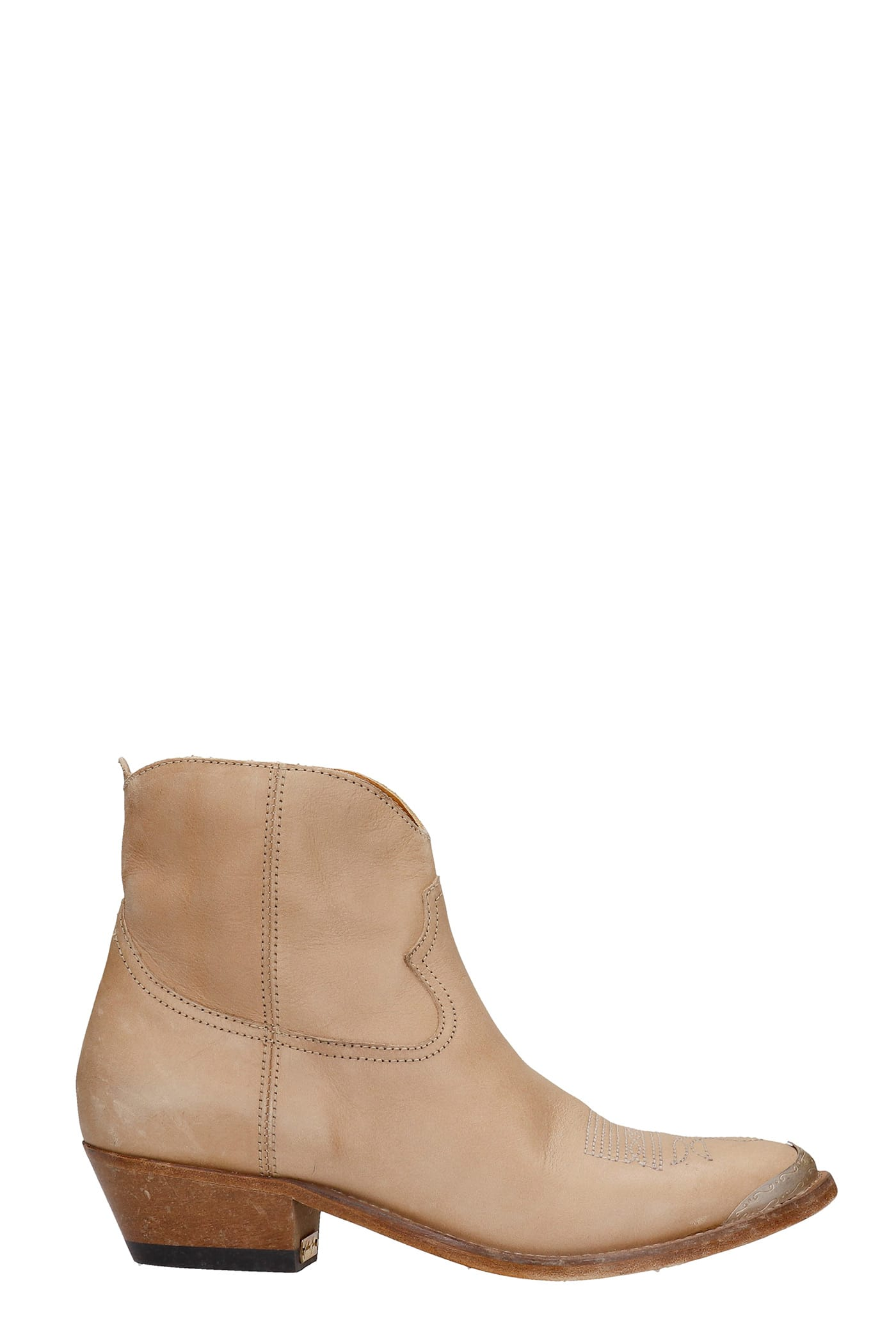 Golden Goose Leathers YOUNG TEXAN ANKLE BOOTS IN BEIGE LEATHER