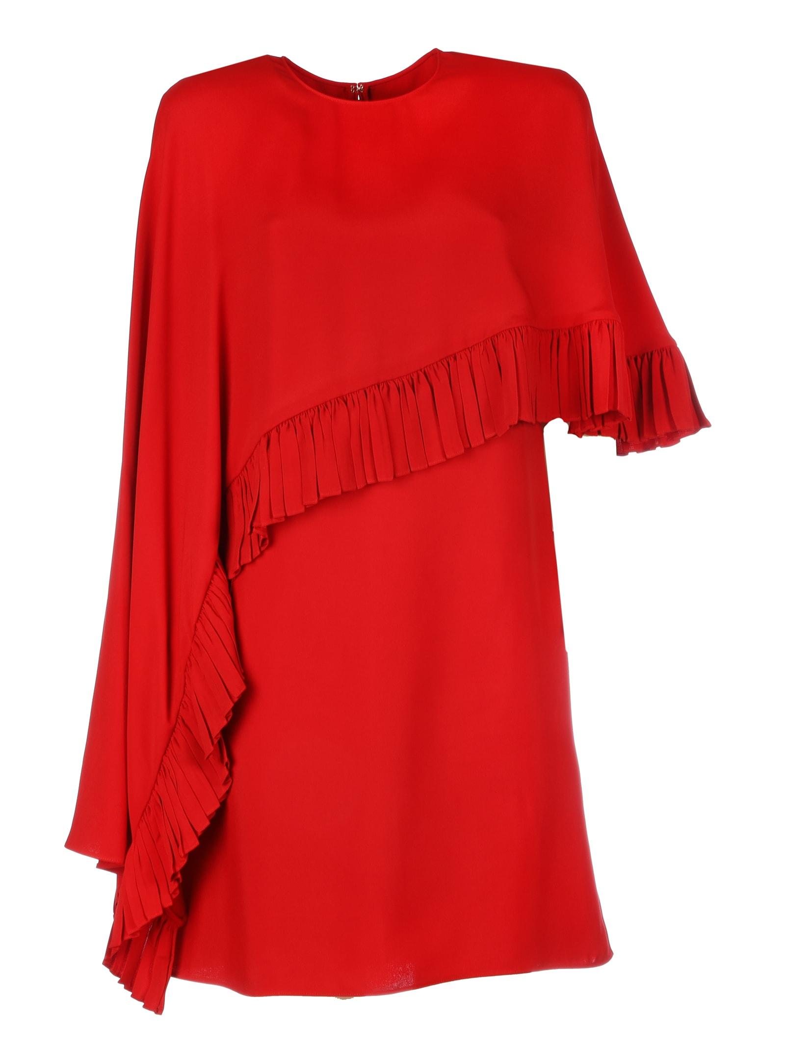 Valentino Viscose Dress With Rouche & mantellina