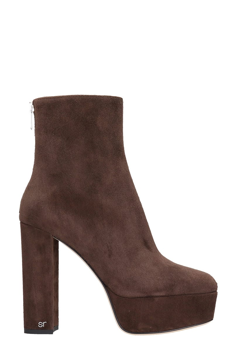 Sergio Rossi High Heels Ankle Boots In Brown Suede