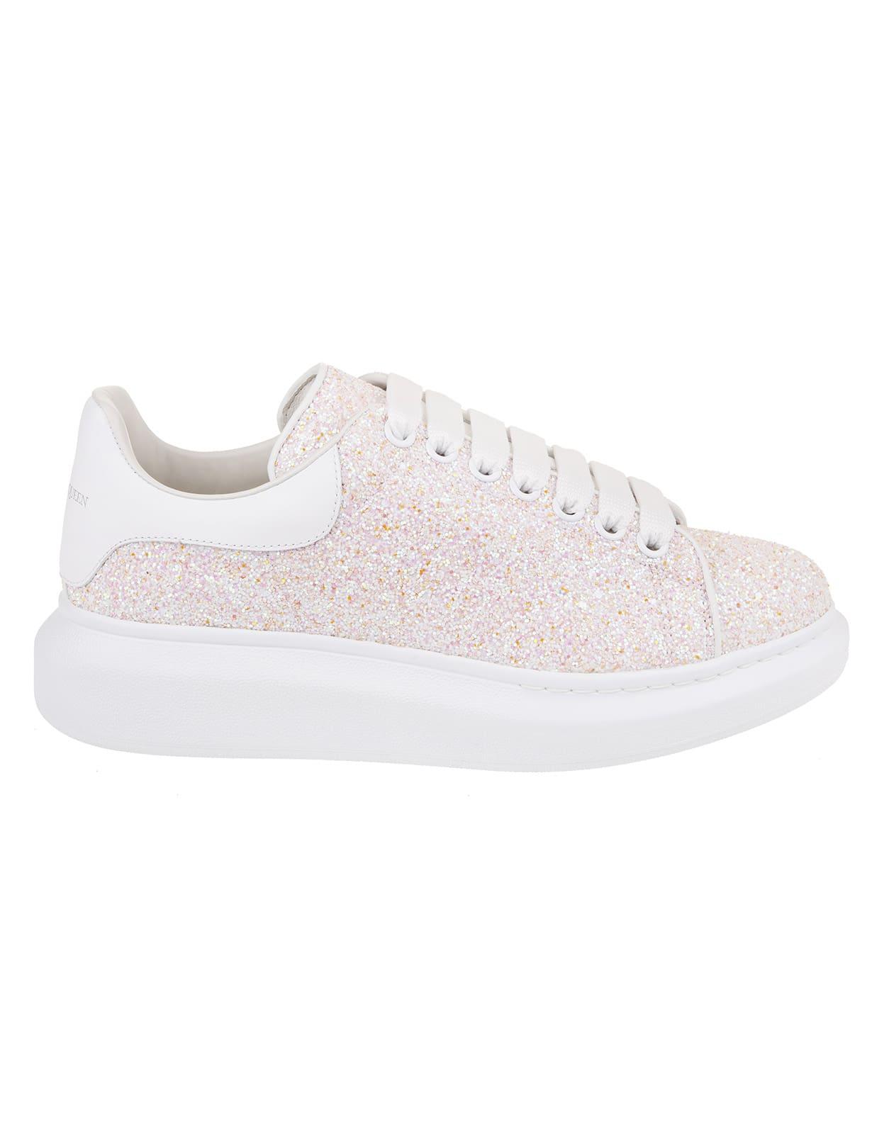 Alexander McQueen Woman Light Pink Glitter Oversize Sneakers