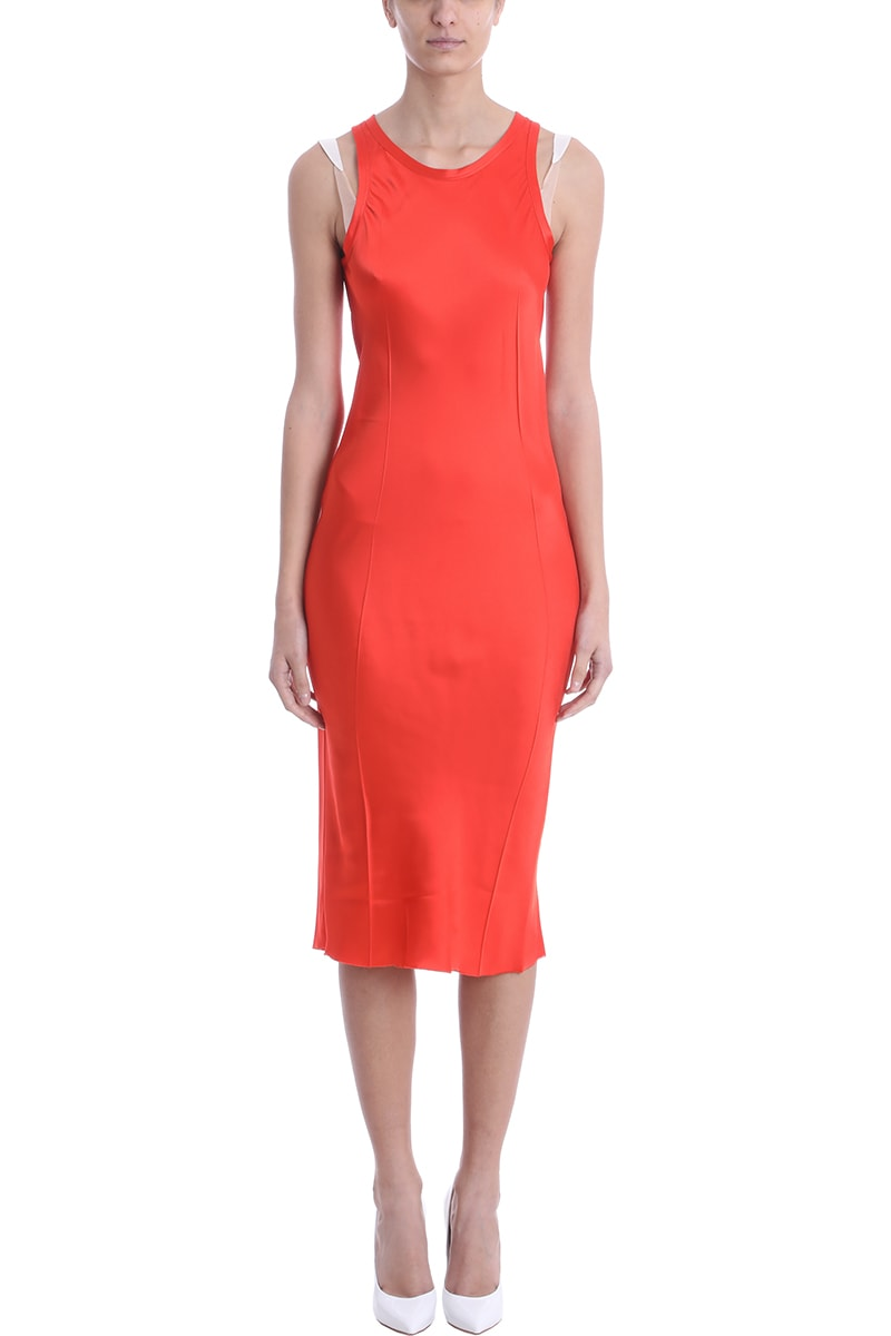 Helmut Lang Red Viscose Dress In Red Viscose