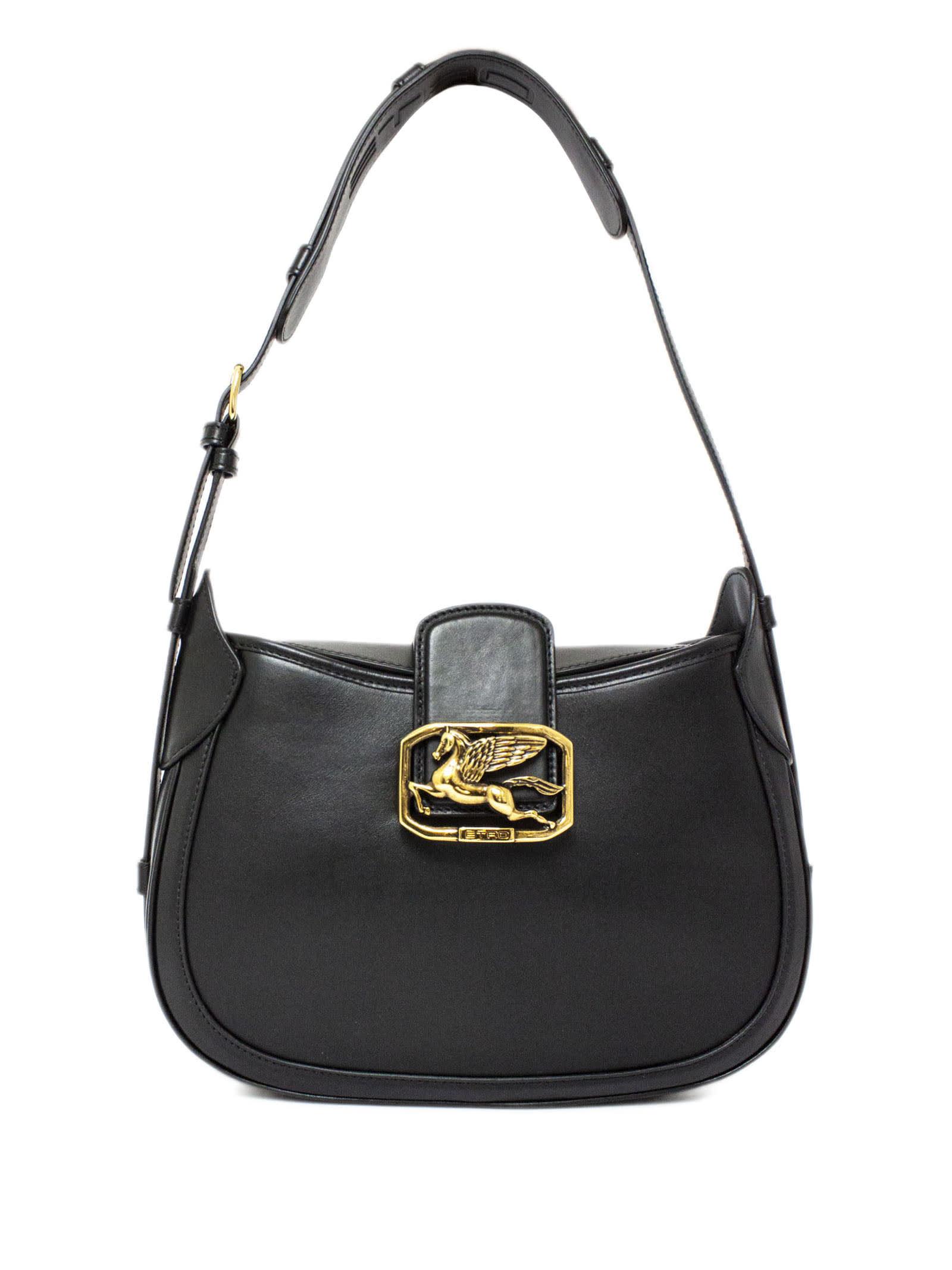 Etro Pegaso Bag In Black Leather