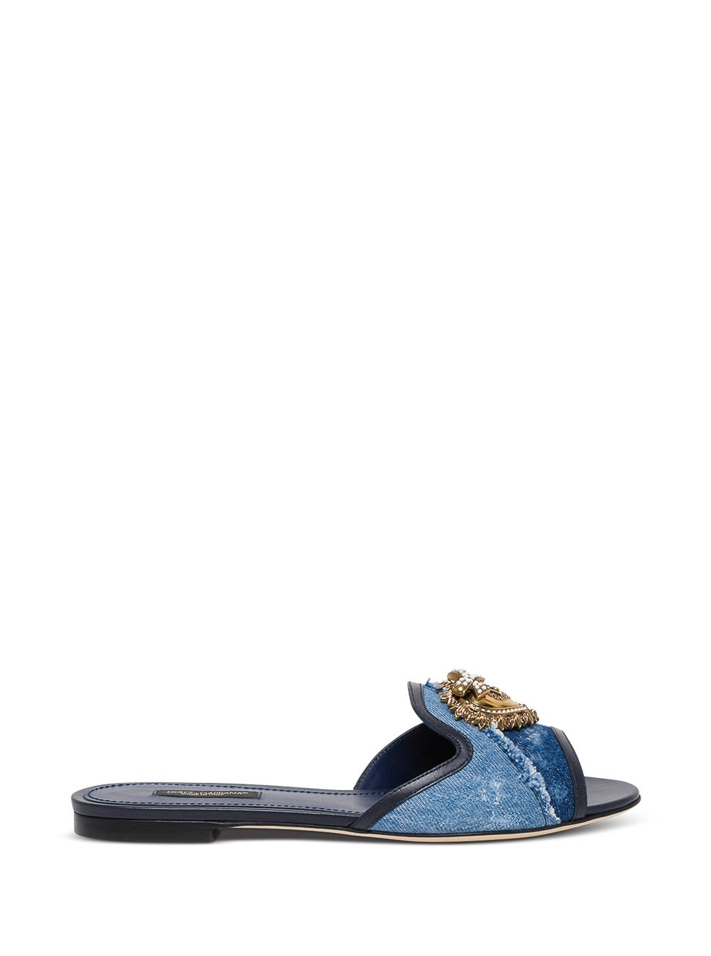 Buy Dolce & Gabbana Devotion Mule In Denim With Logo online, shop Dolce & Gabbana shoes with free shipping
