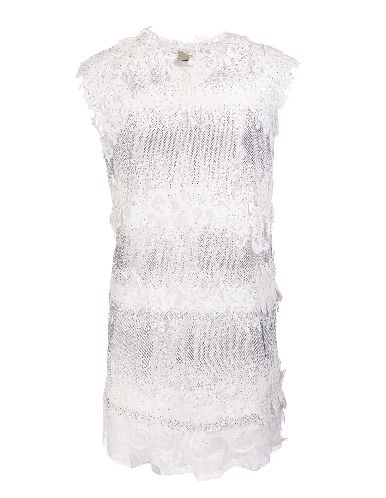 Buy Ermanno Scervino Short Dress With Crystals And White Lace online, shop Ermanno Scervino with free shipping