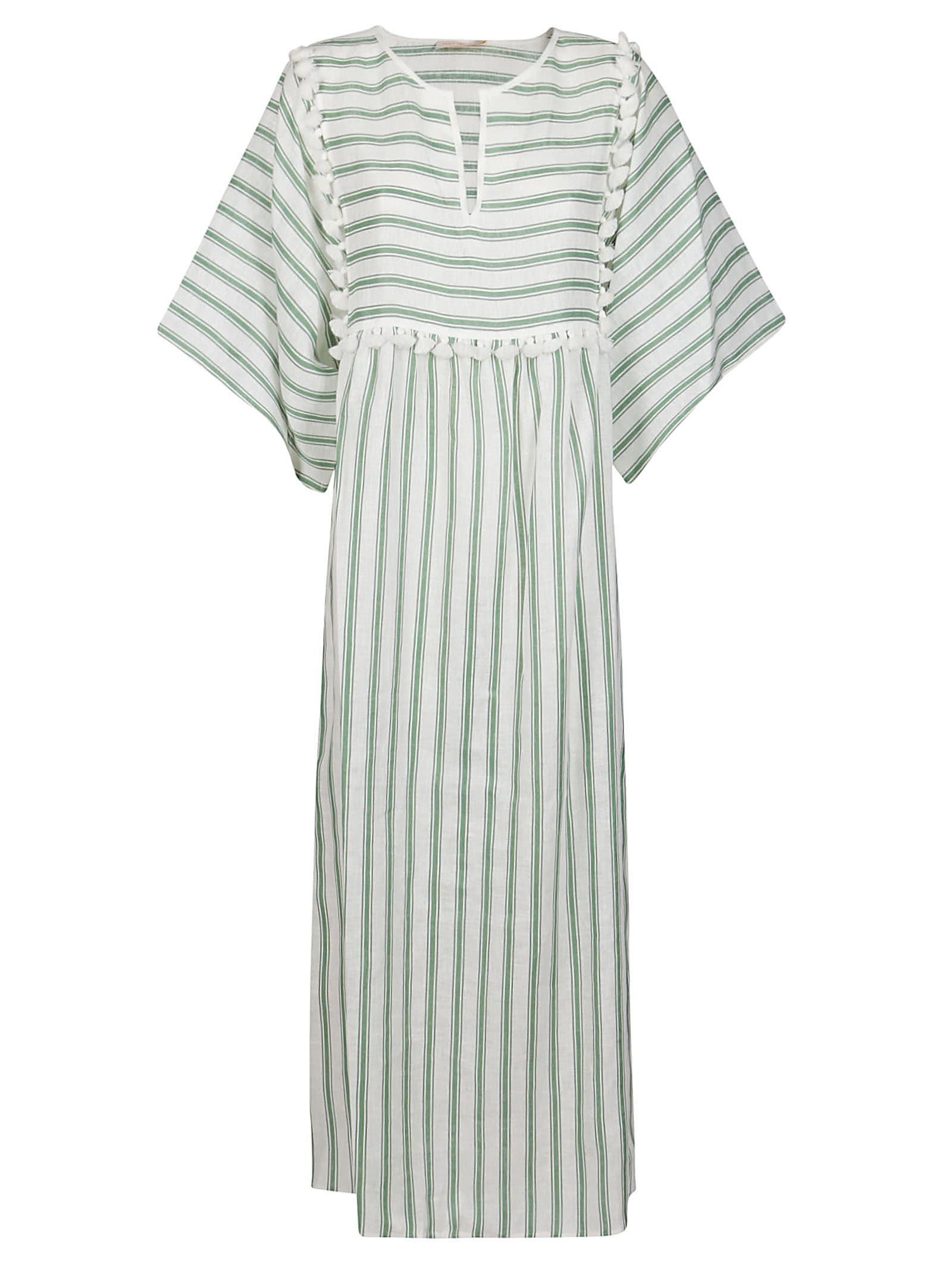 White And Green Linen Dress