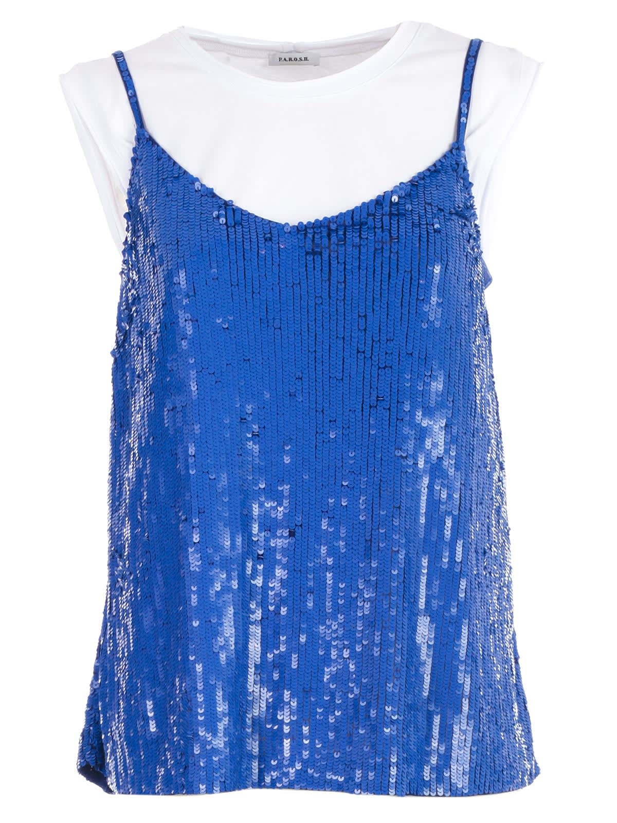 Sequined Top from Parosh: Blue Sequined Top with round neck, t-shirt inside design, cap sleeves, spaghetti strap straight hem and sequin embroidery design