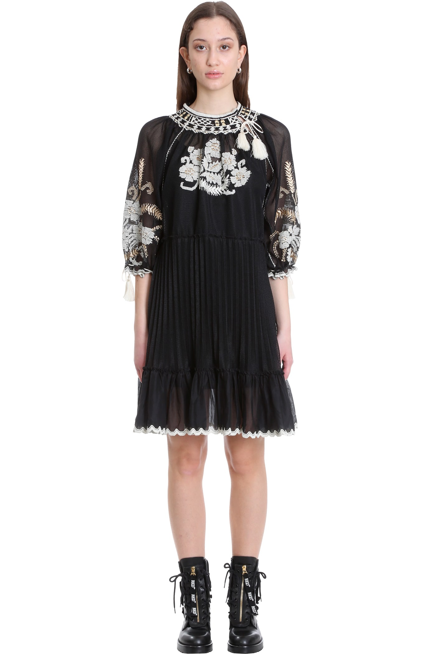 Buy RED Valentino Dress In Black Cotton online, shop RED Valentino with free shipping