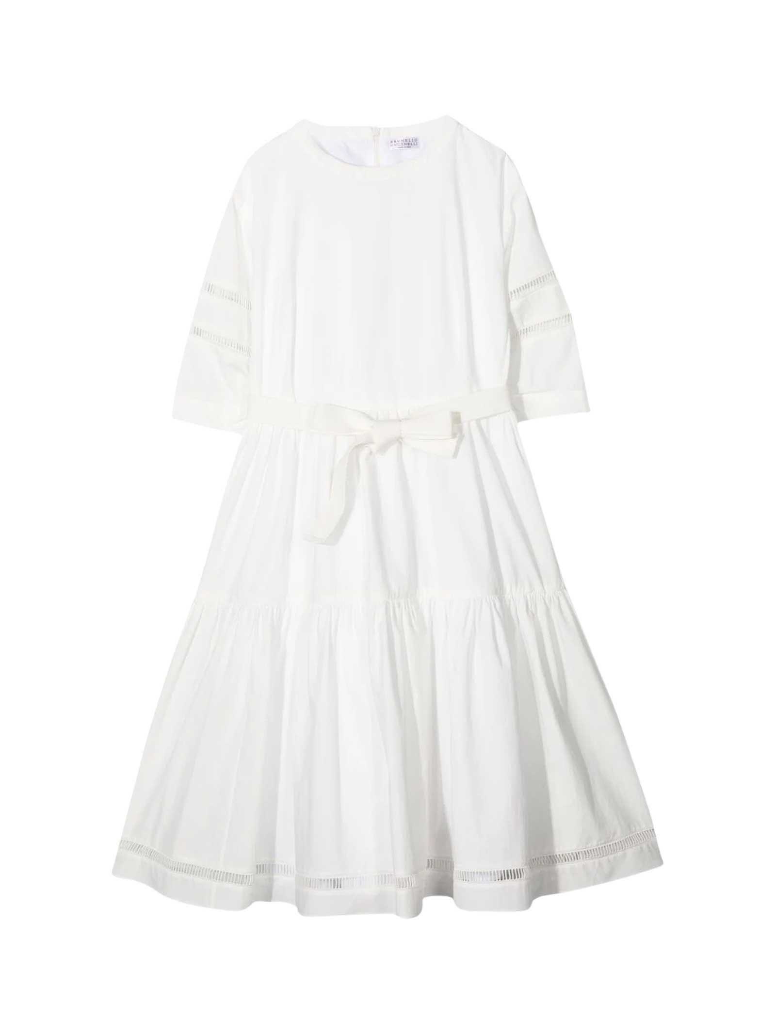 Brunello Cucinelli Brunello Teen Cucinelli Kids White Dress