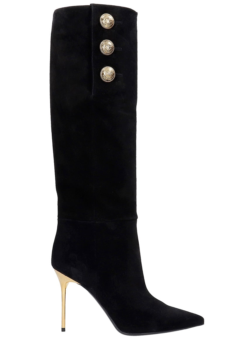 Balmain ROBIN HIGH HEELS BOOTS IN BLACK SUEDE