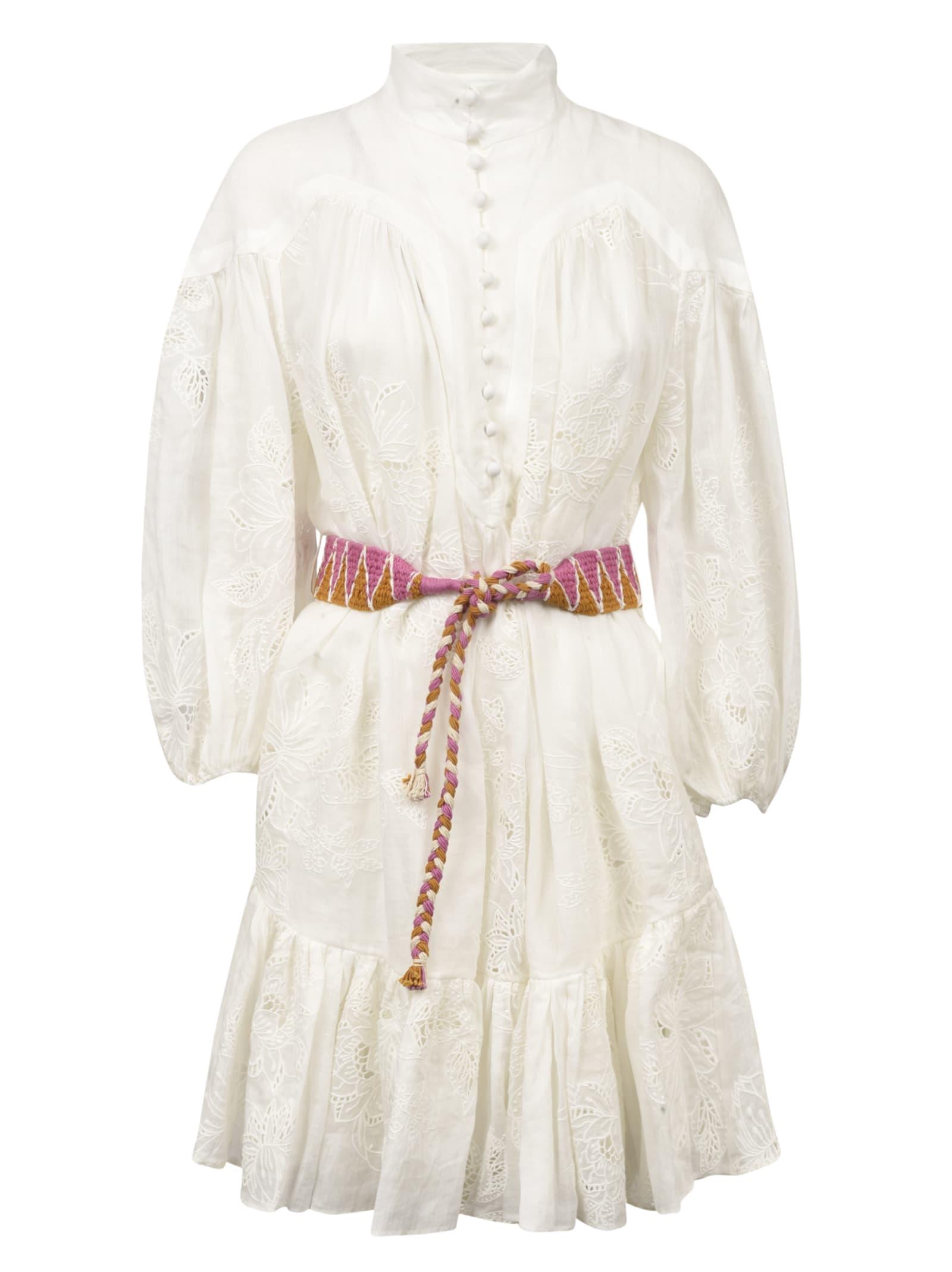 Buy Zimmermann Belt Tie High Neck Dress online, shop Zimmermann with free shipping