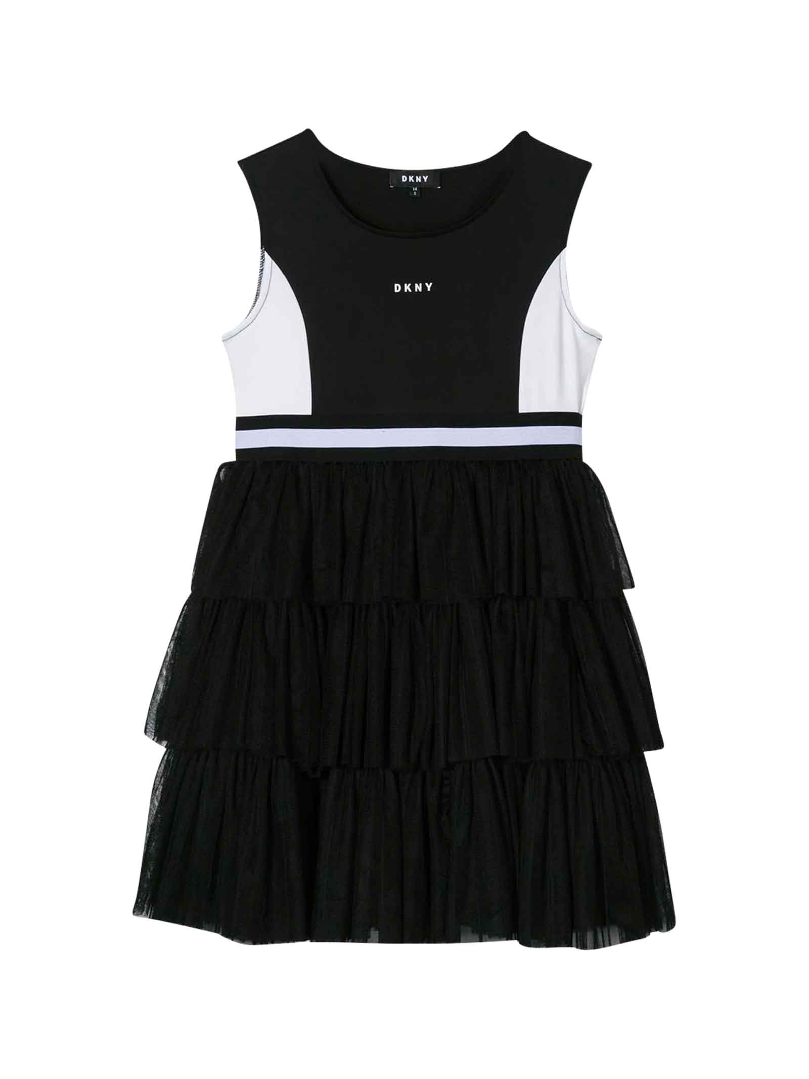 Buy DKNY Black Dress With Logo online, shop DKNY with free shipping