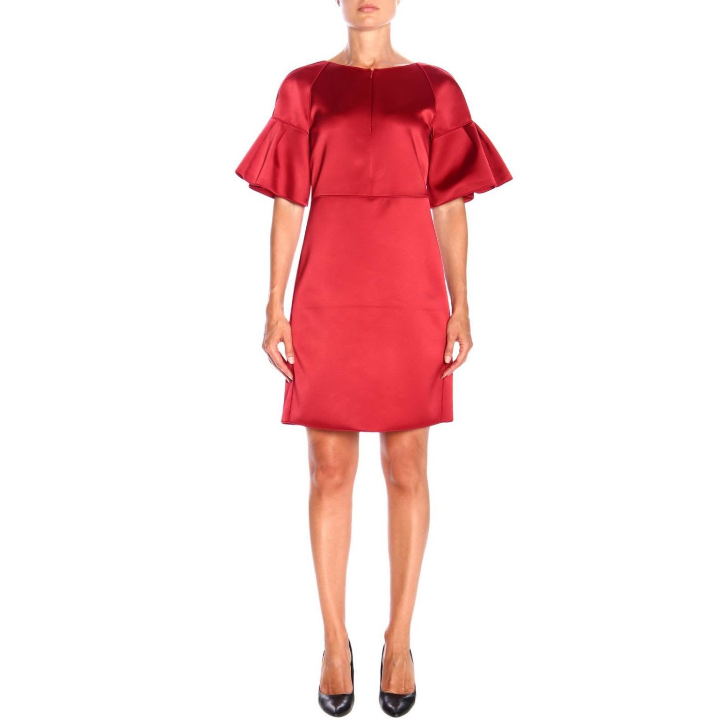 Photo of  Emporio Armani Dress Emporio Armani Dress In Satin With Ruffled Sleeves- shop Emporio Armani  online sales