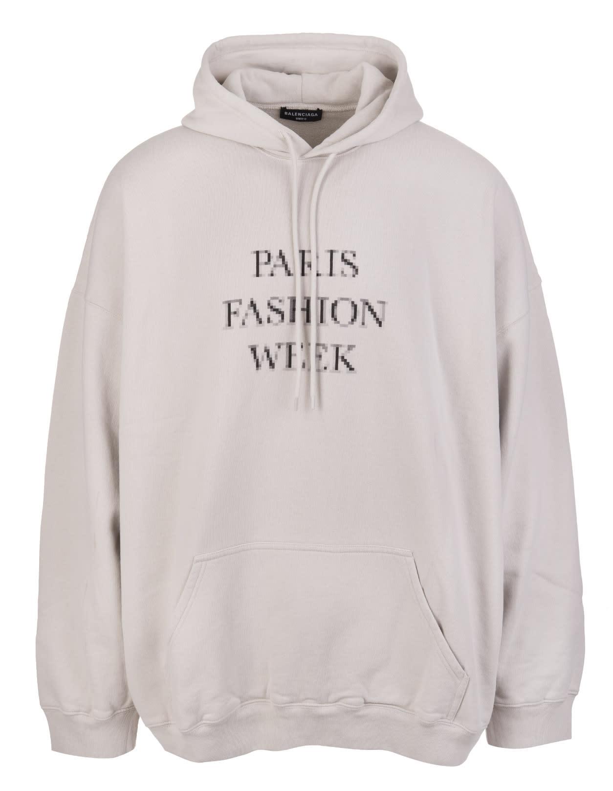 Balenciaga Clothing UNISEX GREY FASHION WEEK SHRUNK OVERSIZE HOODIE