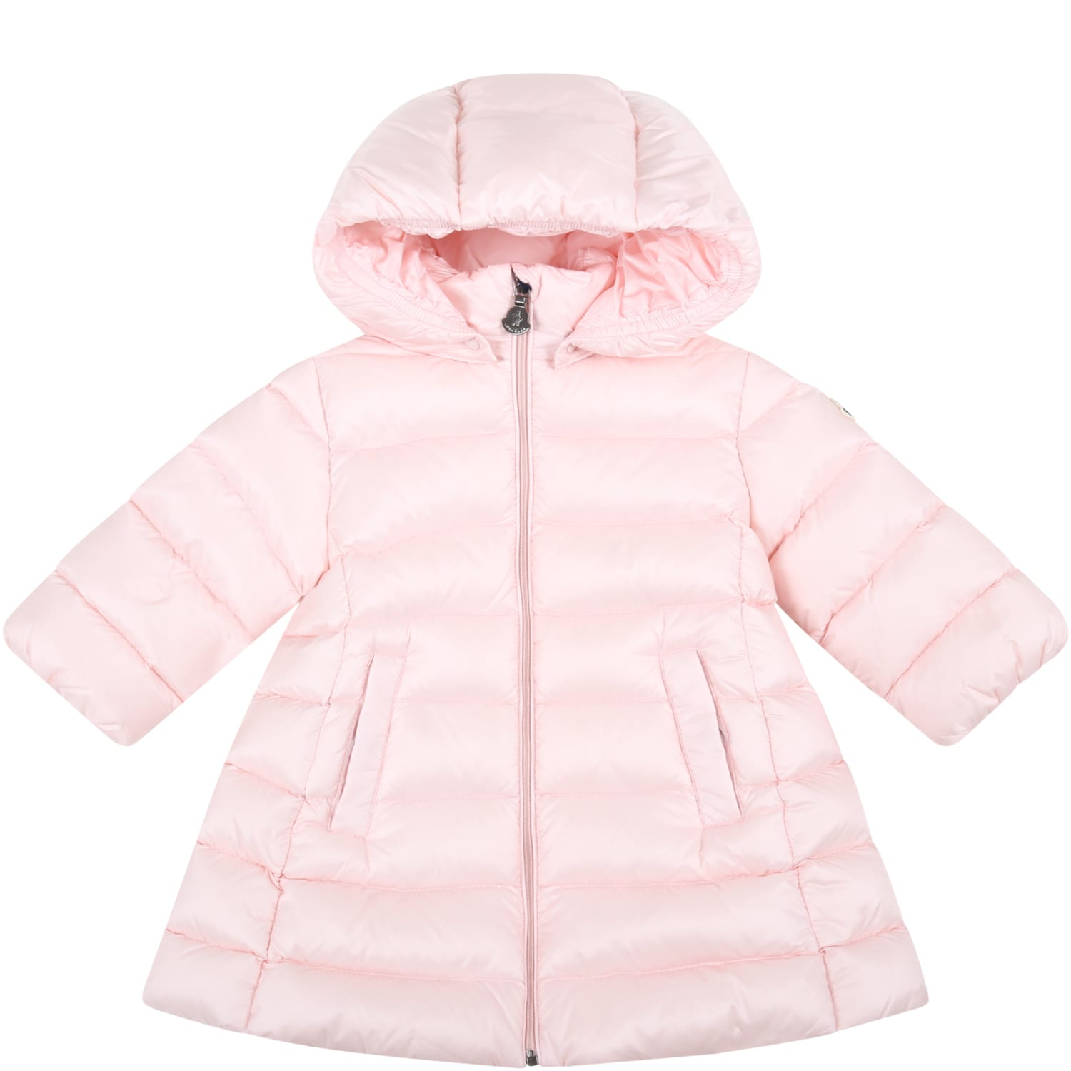 Moncler Pink majeure Jacket For Baby Girl With Logo Patch