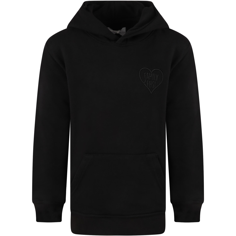 Black Sweatshirt For Kids With Heart